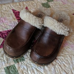 Chocolate brown leather Ugg clogs